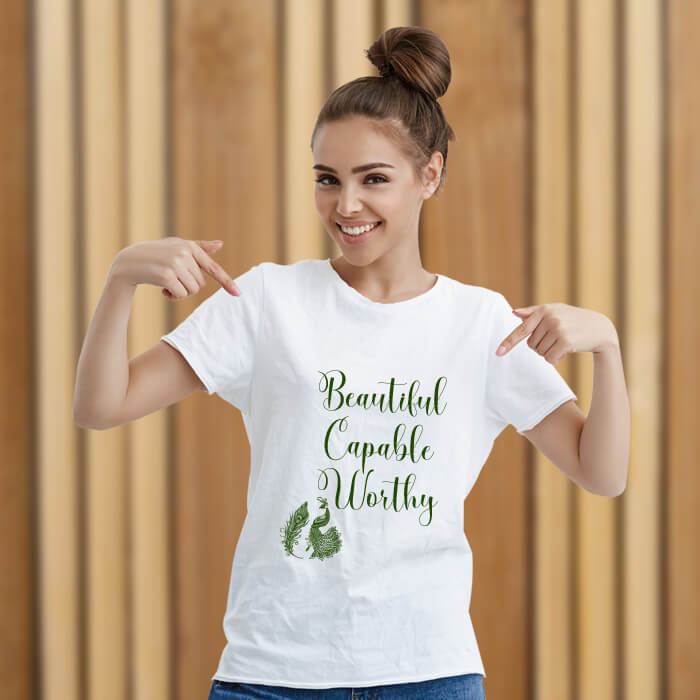 Beautiful Quotes With Peacock Print T-Shirt For Women