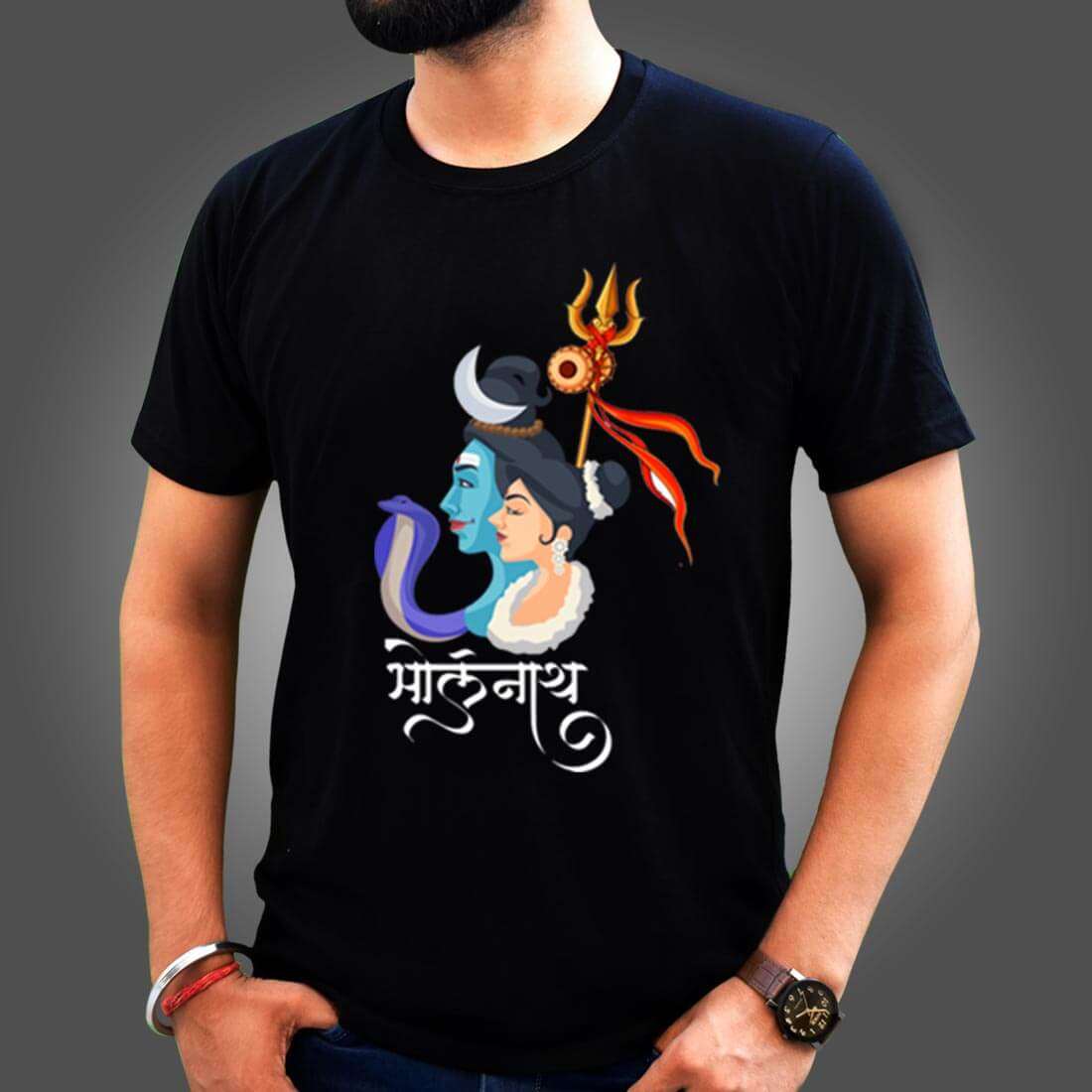 Bholenath with Parvati Images Printed Black Round Neck T Shirt