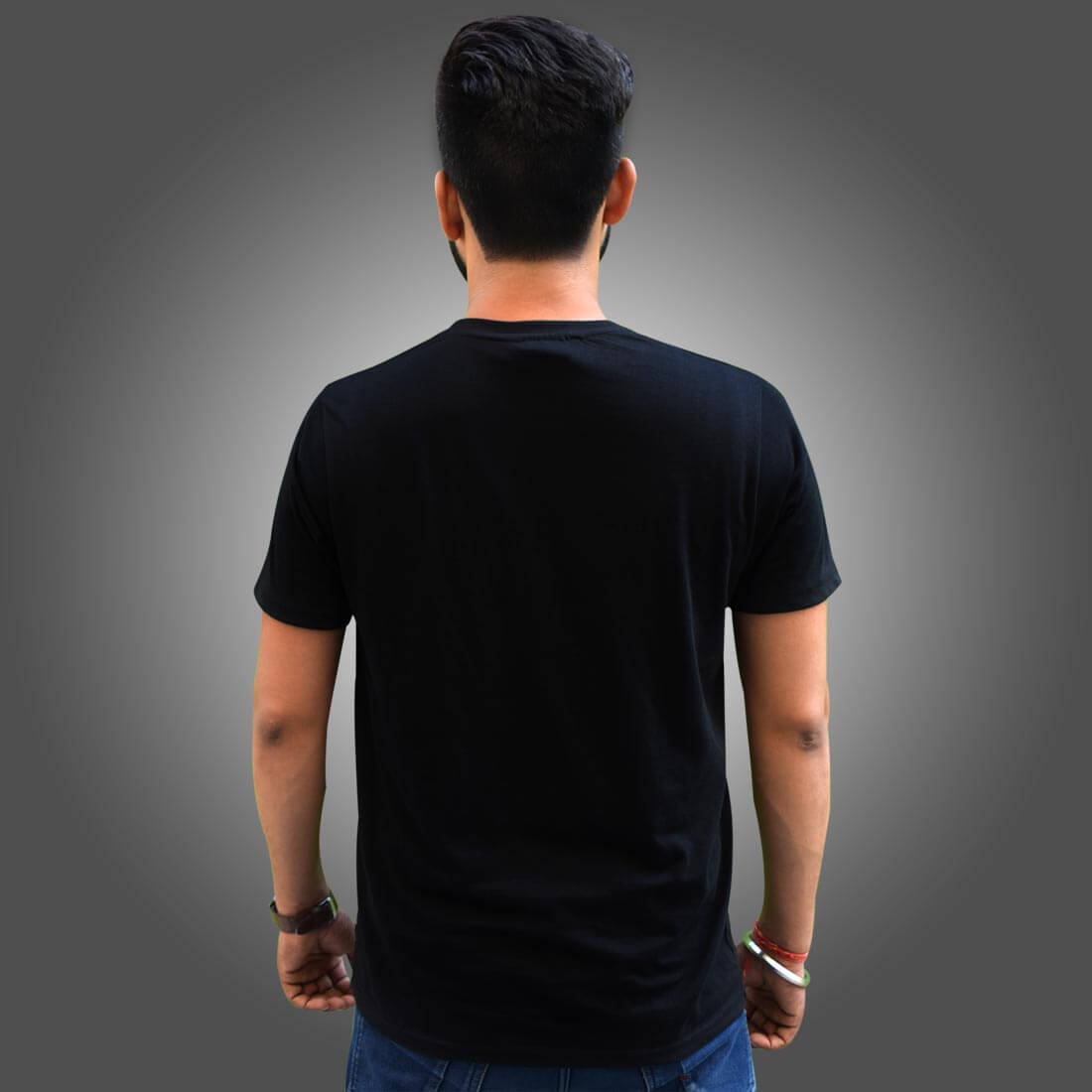 Bholenath with Parvati Images Printed Black T Shirt Front and Back