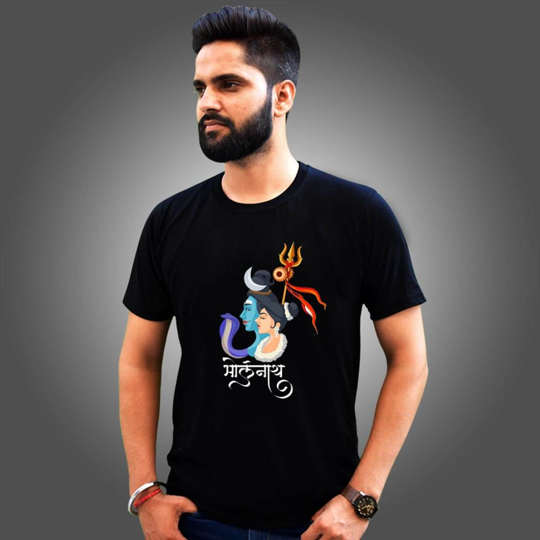 Bholenath with Parvati Images Printed Black T Shirt Men