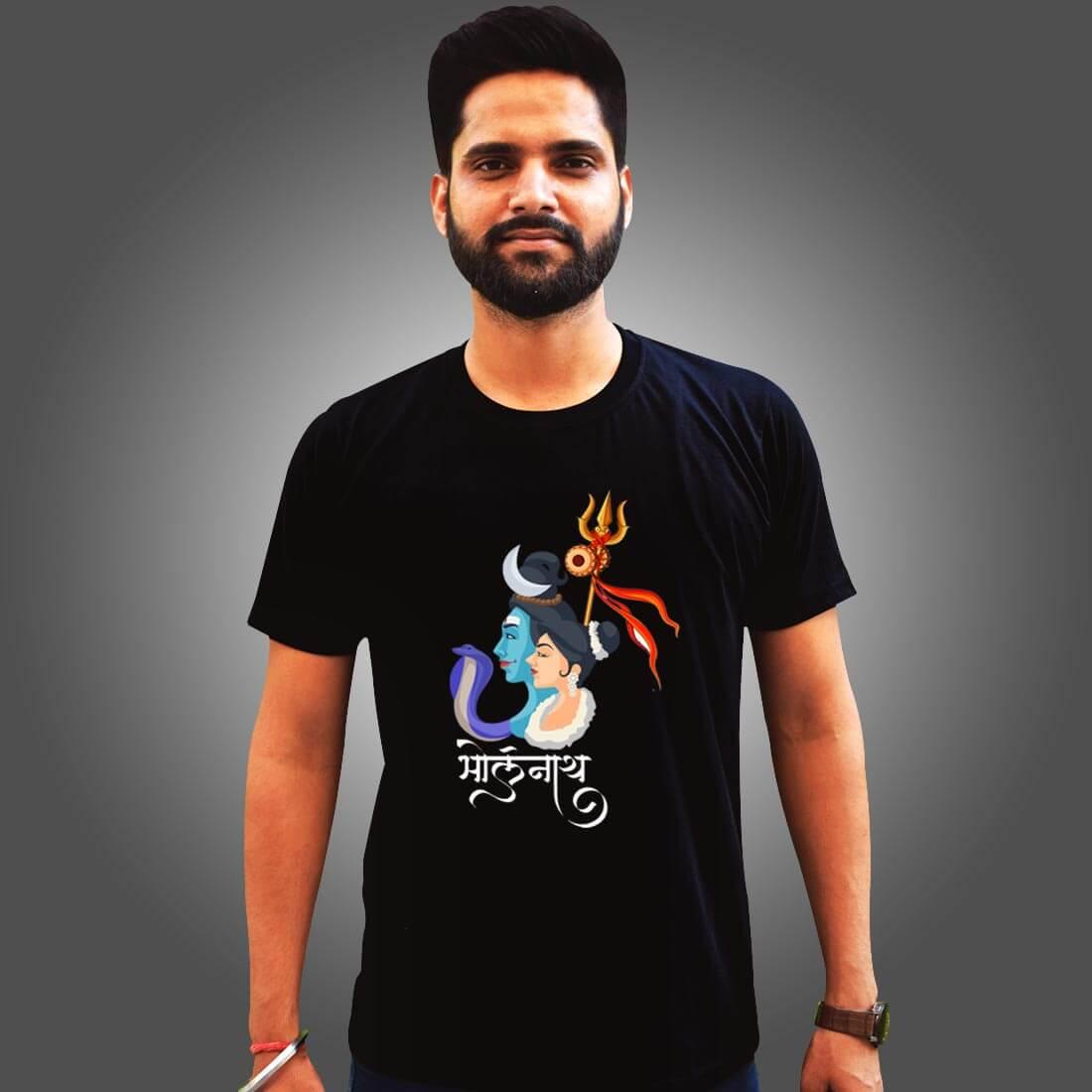 Bholenath with Parvati Images Printed Black T-Shirt for Men