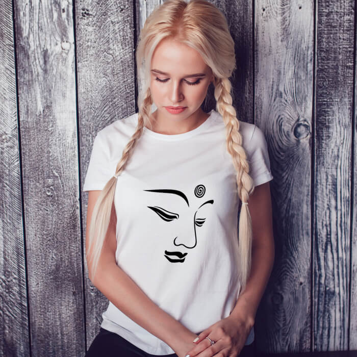 Buddha Face Line art Printed Stylish T-Shirt For Women