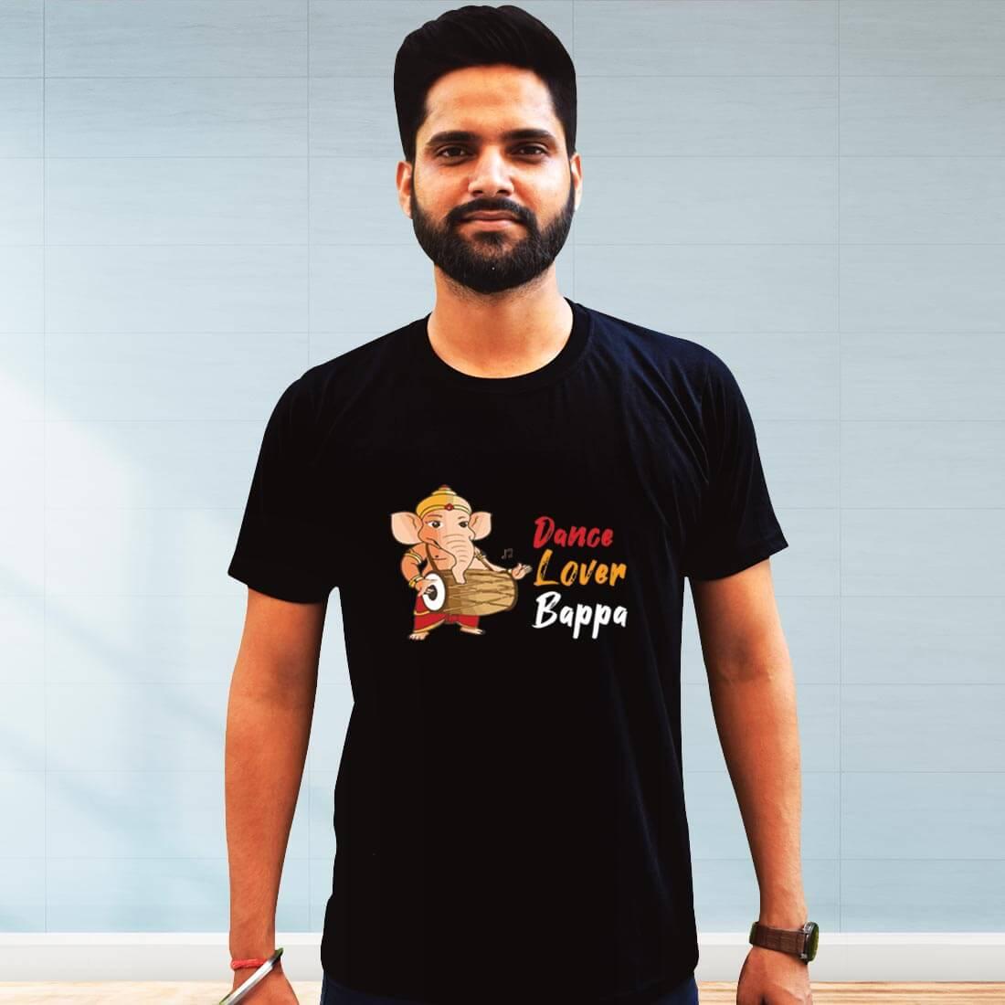 Dance Lover Bapa Printed Black Plain T Shirt
