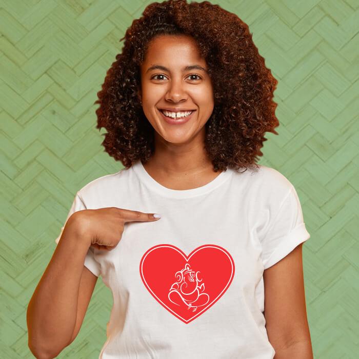 Designer Ganesha Graphic Printed Stylish T-Shirt For Women