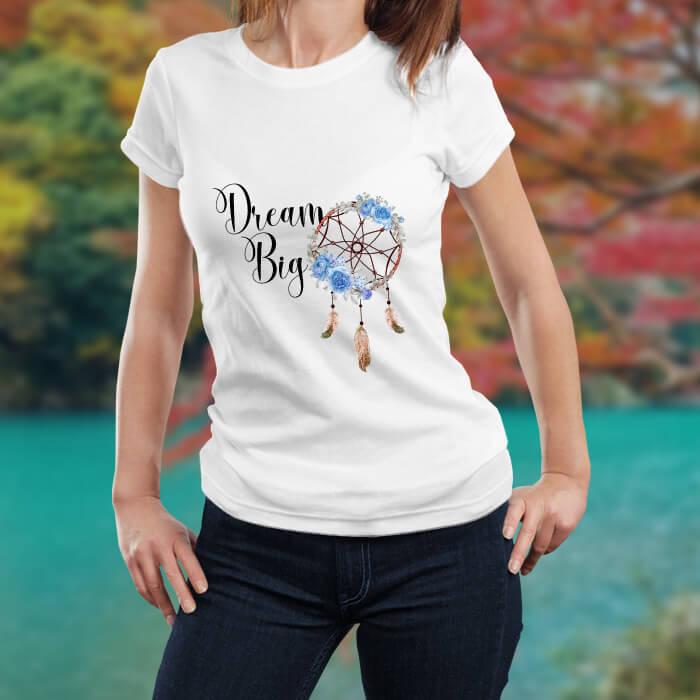 Dream Big Catcher Printed Stylish T-Shirt For Women