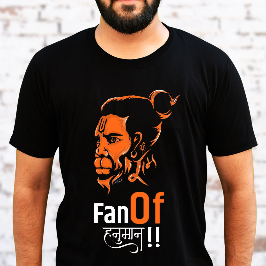 Fan of Hanuman Quotes Printed Black T Shirt Men