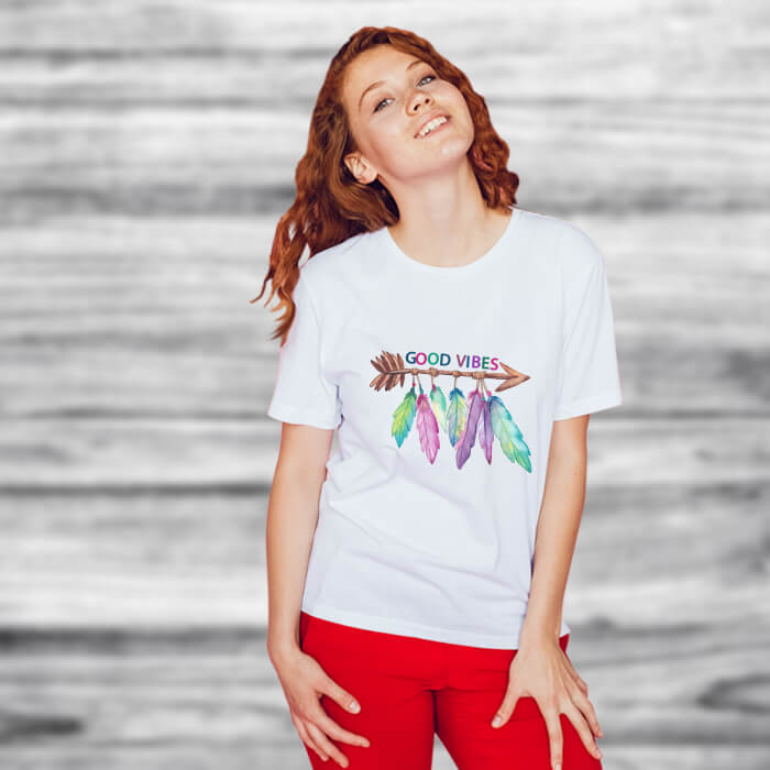 Feather Good Vibes Print Stylish T-Shirt For Women