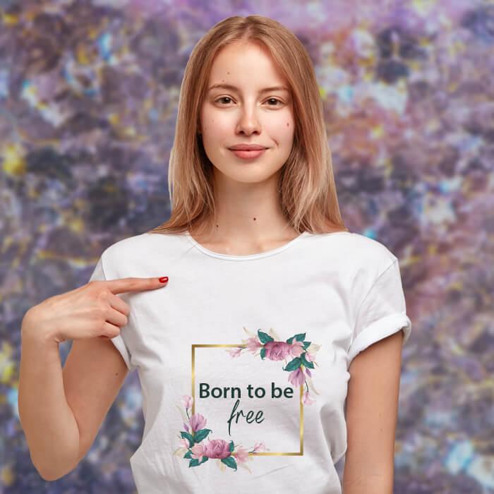 Free Slogan Printed T Shirt For Women Online