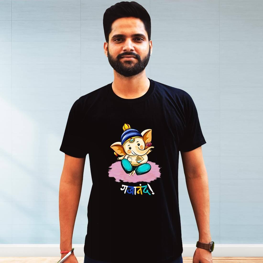 Gajanand Printed Black Plain T Shirt