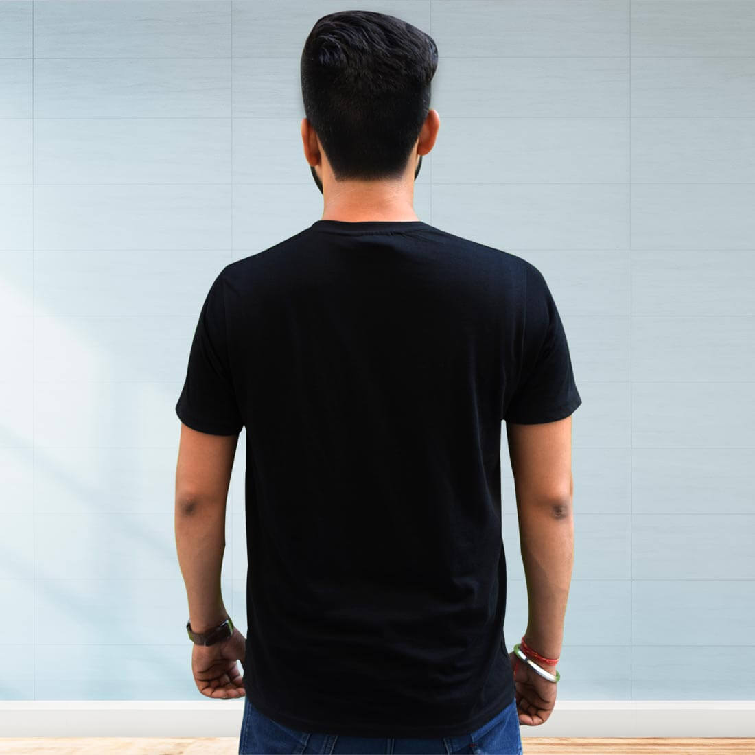 Gajanand Printed Black T Shirt Front and Back