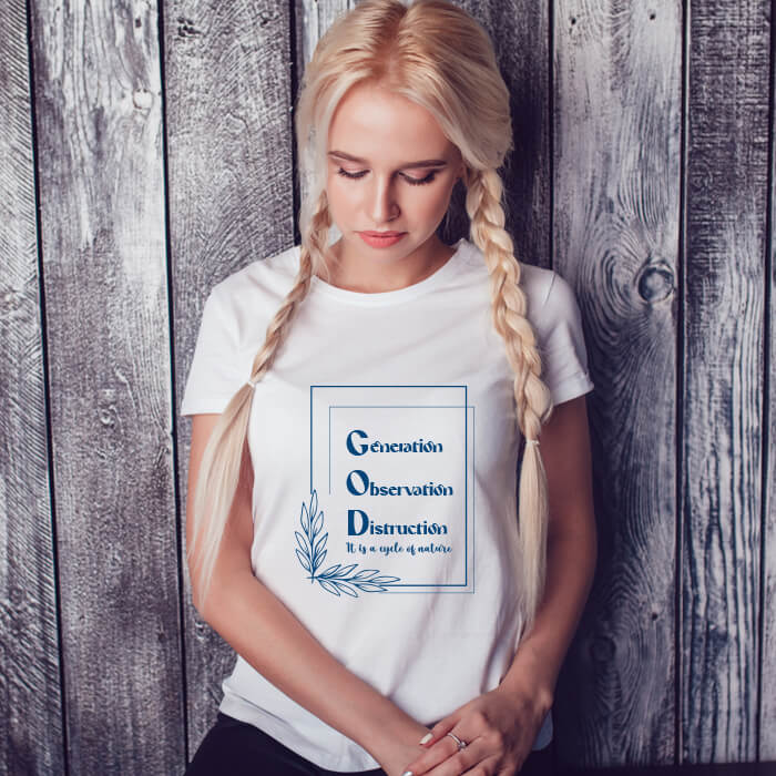 God Best Quotes Printed T-Shirt For Women