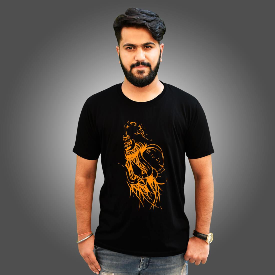 God Shiva Best Images Printed Black T Shirt