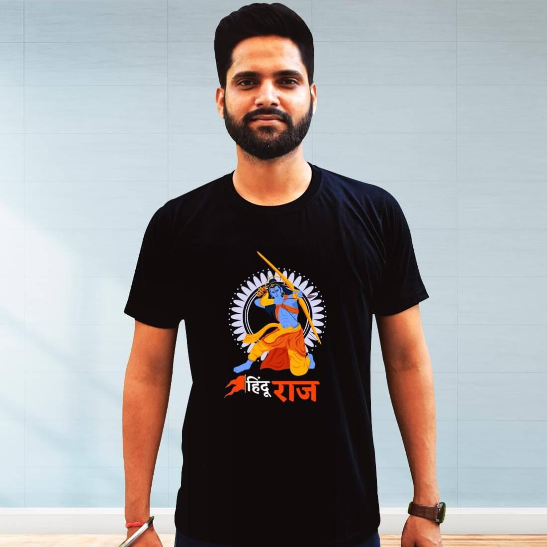 Hindu Raj Printed Black Plain T Shirt