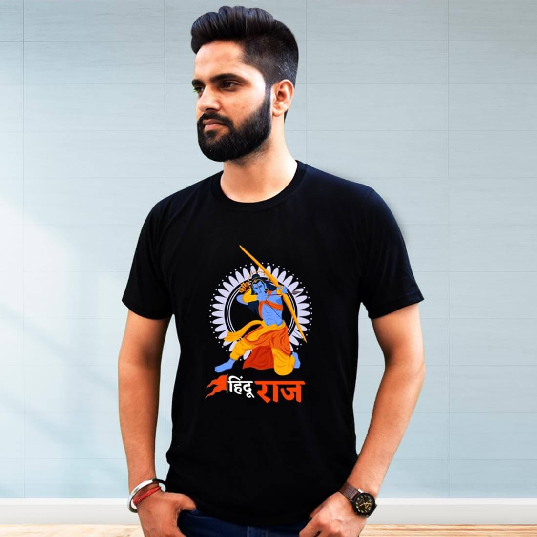 Hindu Raj Printed Black T Shirt Men