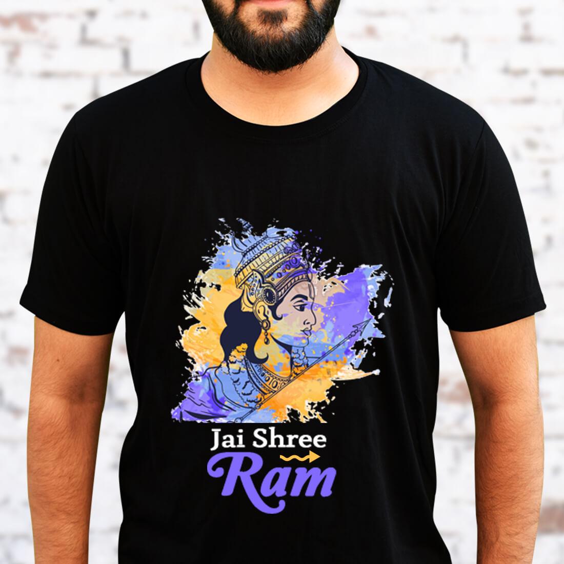 Jai Shree Ram Printed Black T Shirt Men