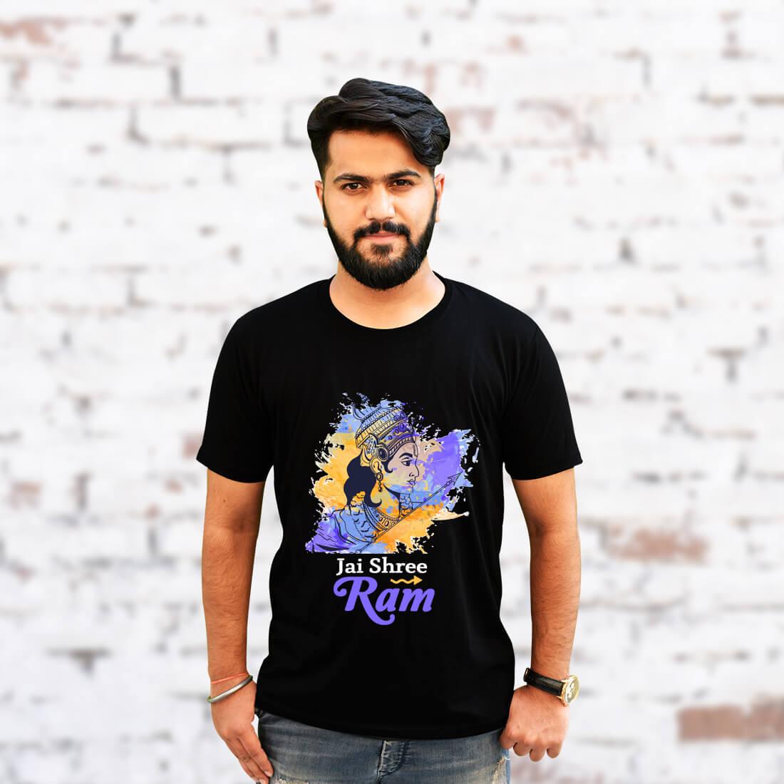 Jai Shree Ram Printed Black Round Neck T Shirt