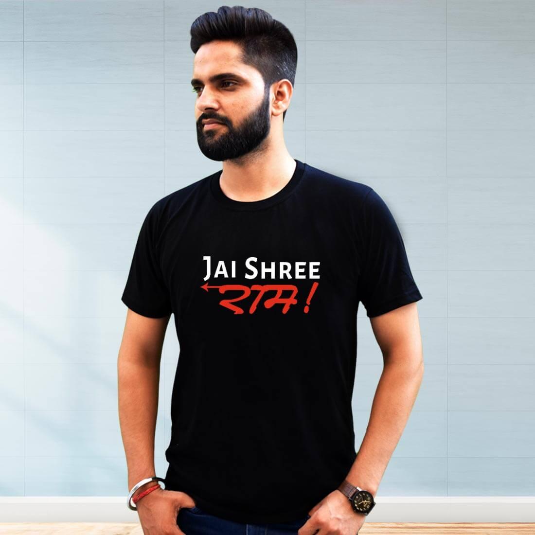Jai Shri Ram Best Printed Black T Shirt Men