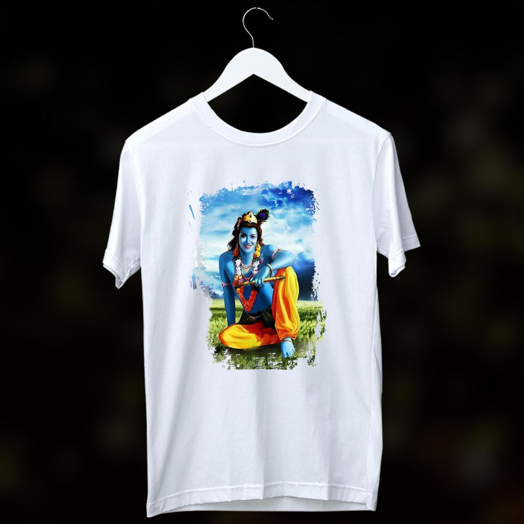 Jai Shree Krishna Printed T Shirt