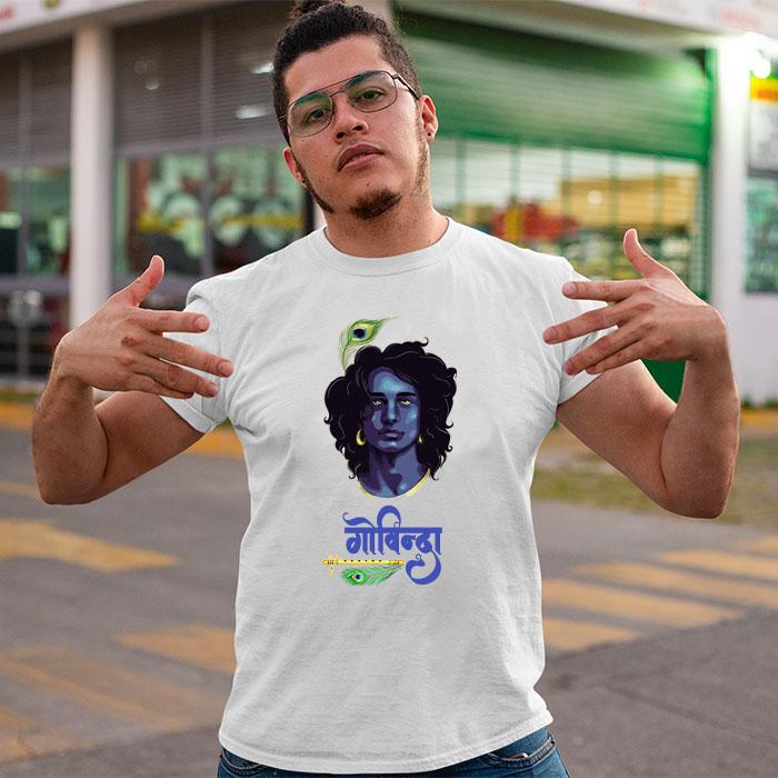 Krishan govind with black background printed style t shirt