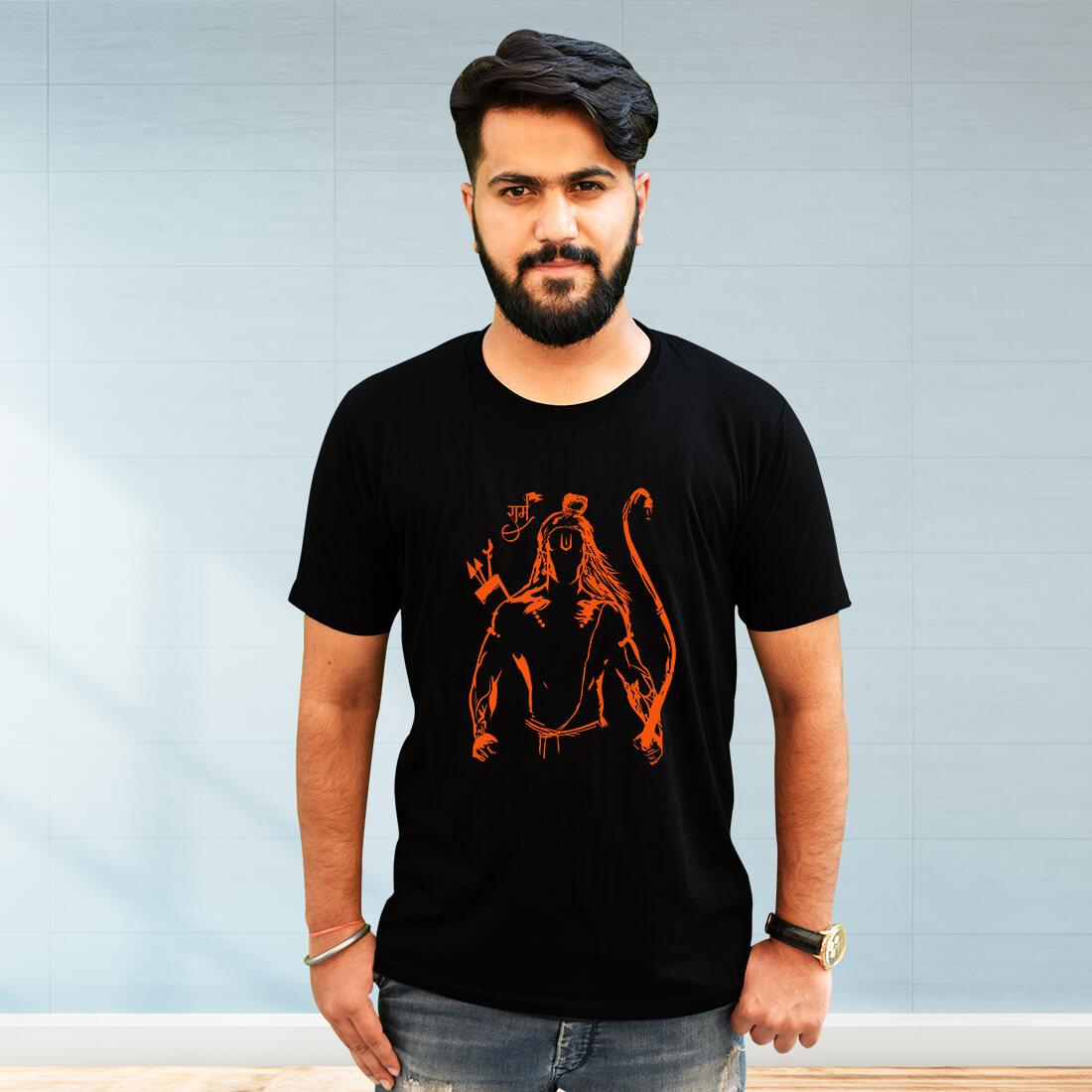 Lord Ram Sketch Printed Black T Shirt For Men