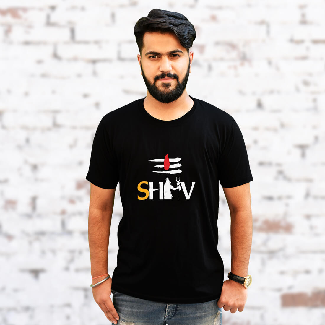 Lord Shiva Tilak Printed Black T Shirt For Men