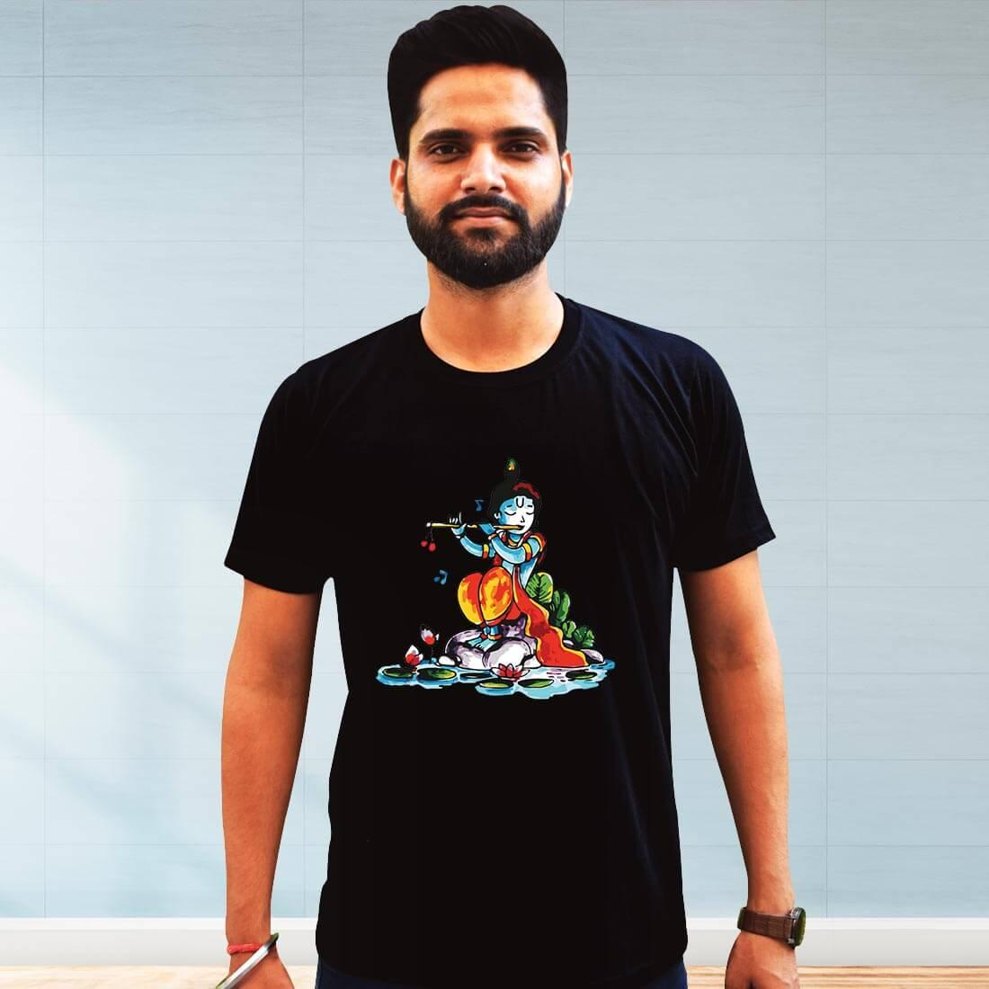 Lord krishna with Flute Printed Black Plain T Shirt