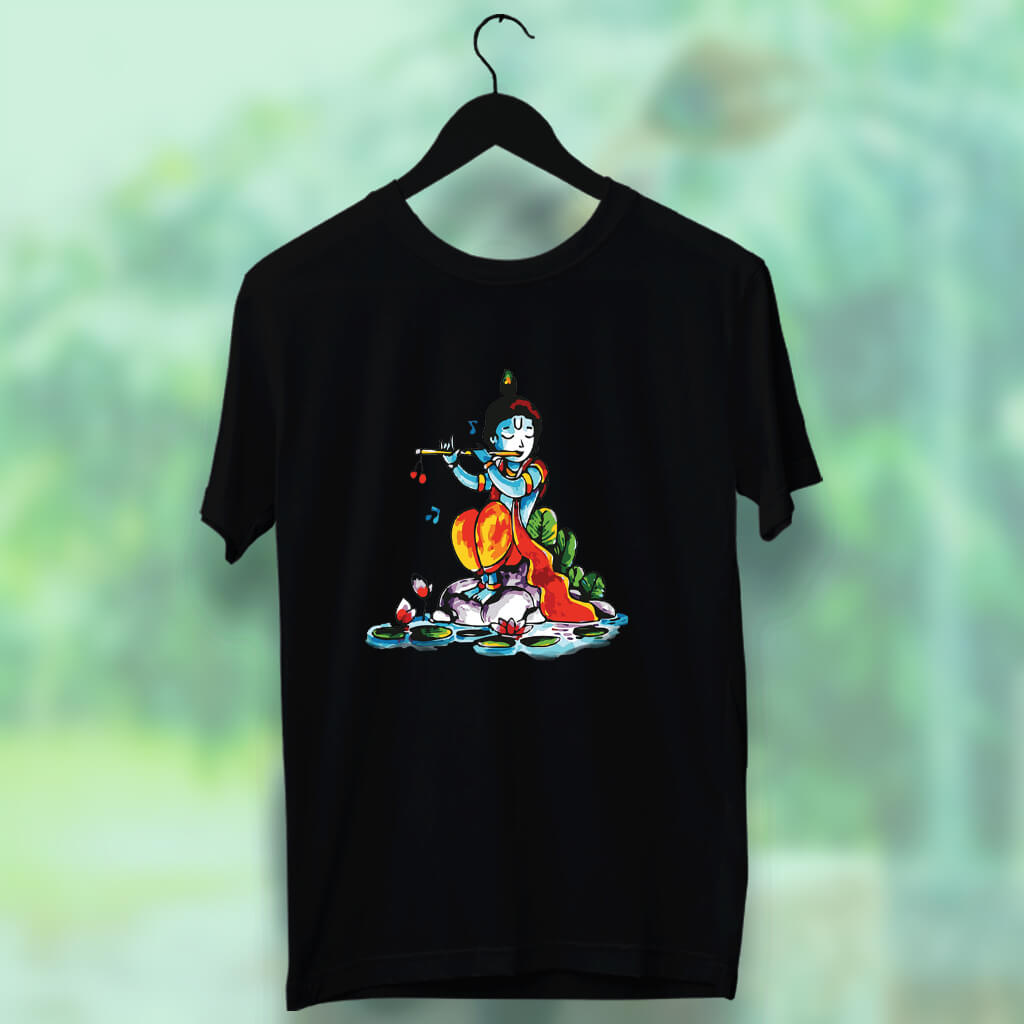 Lord krishna with Flute Printed Black Round Neck T Shirt