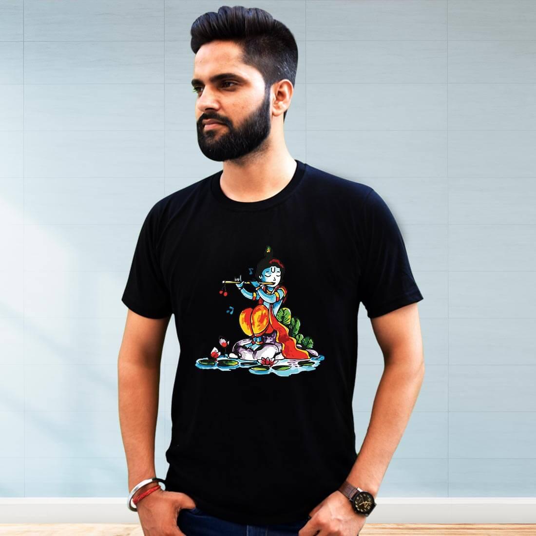 Lord krishna with Flute Printed Black T Shirt Men
