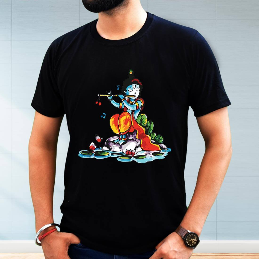 Lord krishna with Flute Printed Black T-Shirt for Men