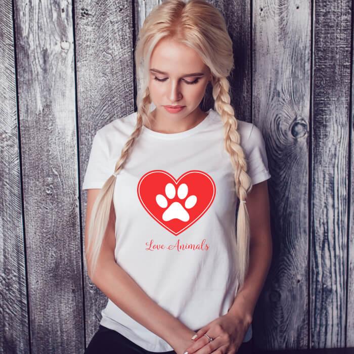 Love Animal Graphic Print Stylish T-Shirt For Women