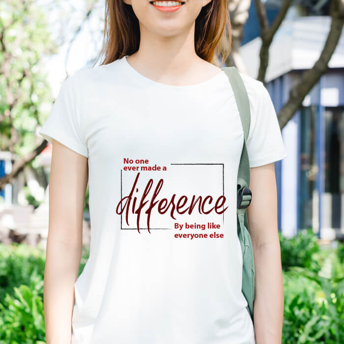 Make Difference Printed Women White T Shirt