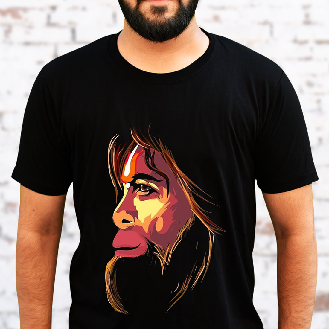 Monkey King Printed Black T Shirt Front and Back