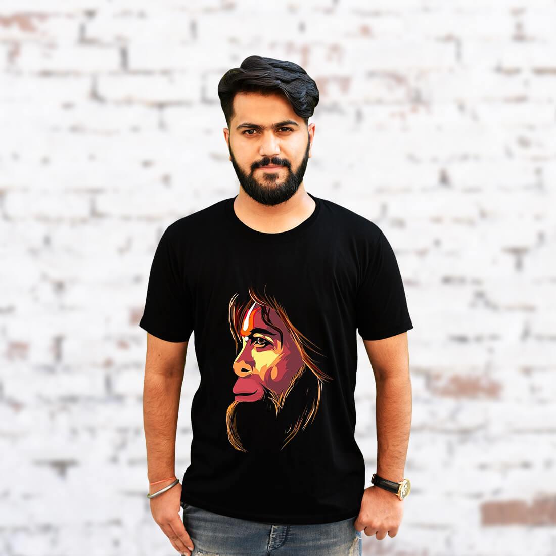 Monkey King Printed Black T-Shirt for Men