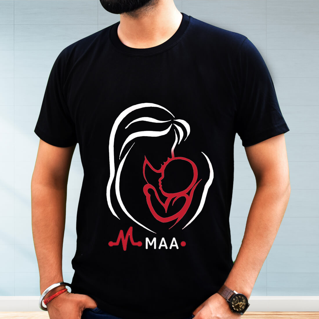 Mother and Son Sketch Printed Black Plain T Shirt