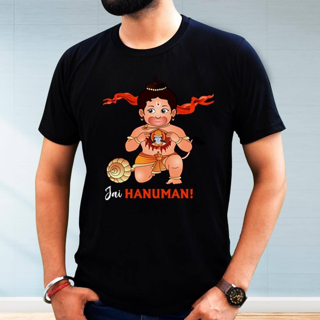 Jai Hanuman Printed Black T Shirt