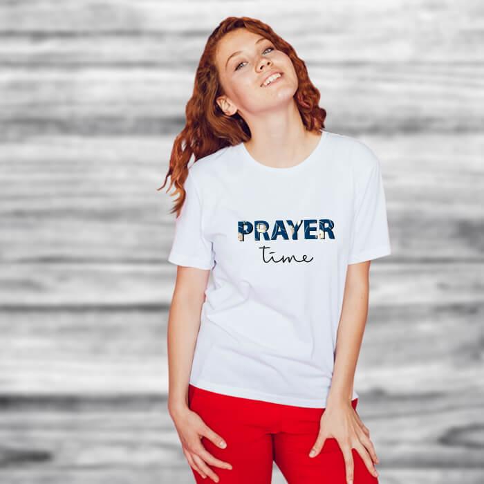 Prayer Time Graphic Stylish T Shirt For Women