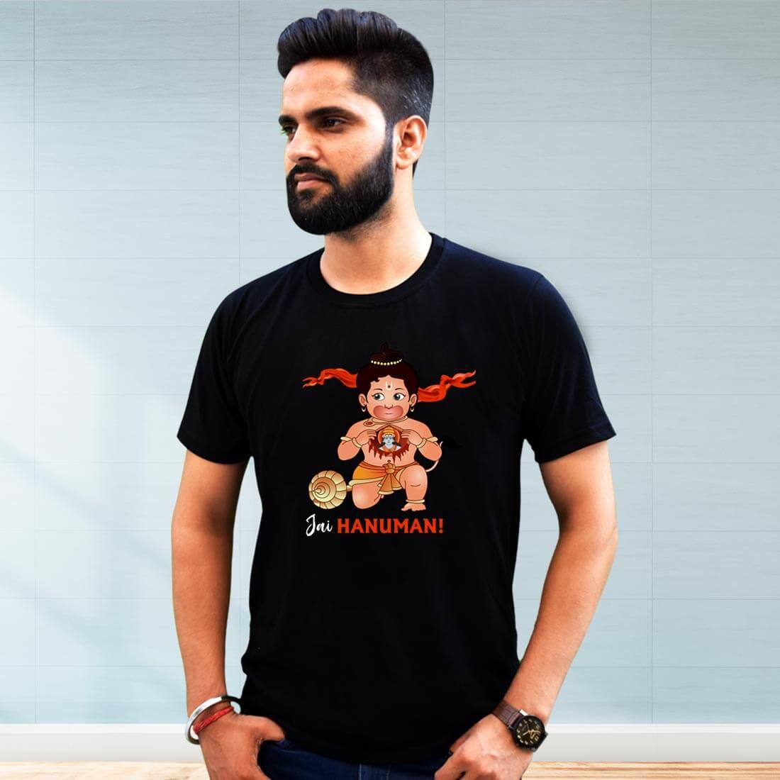 Jai Hanuman Black Printed T shirt
