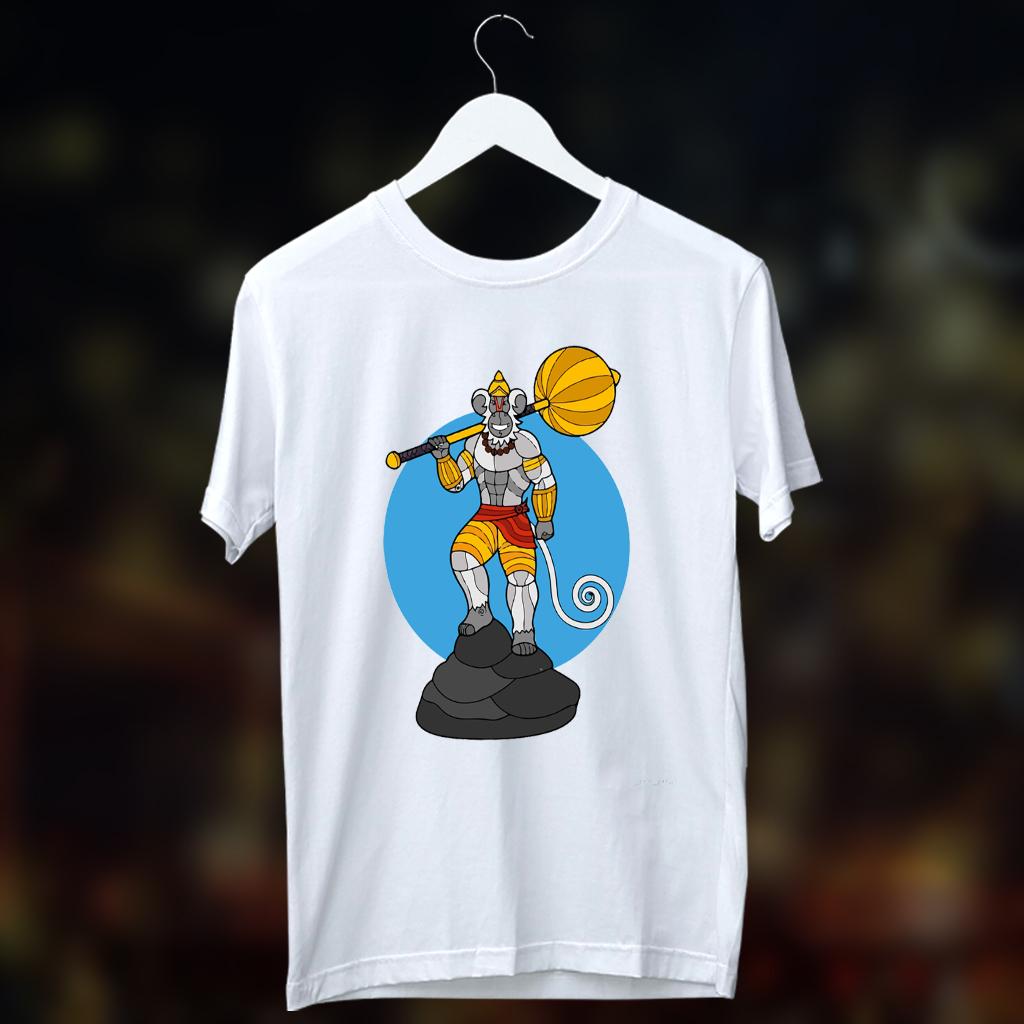 Veer Hanuman Ati Balwana Printed T Shirt White