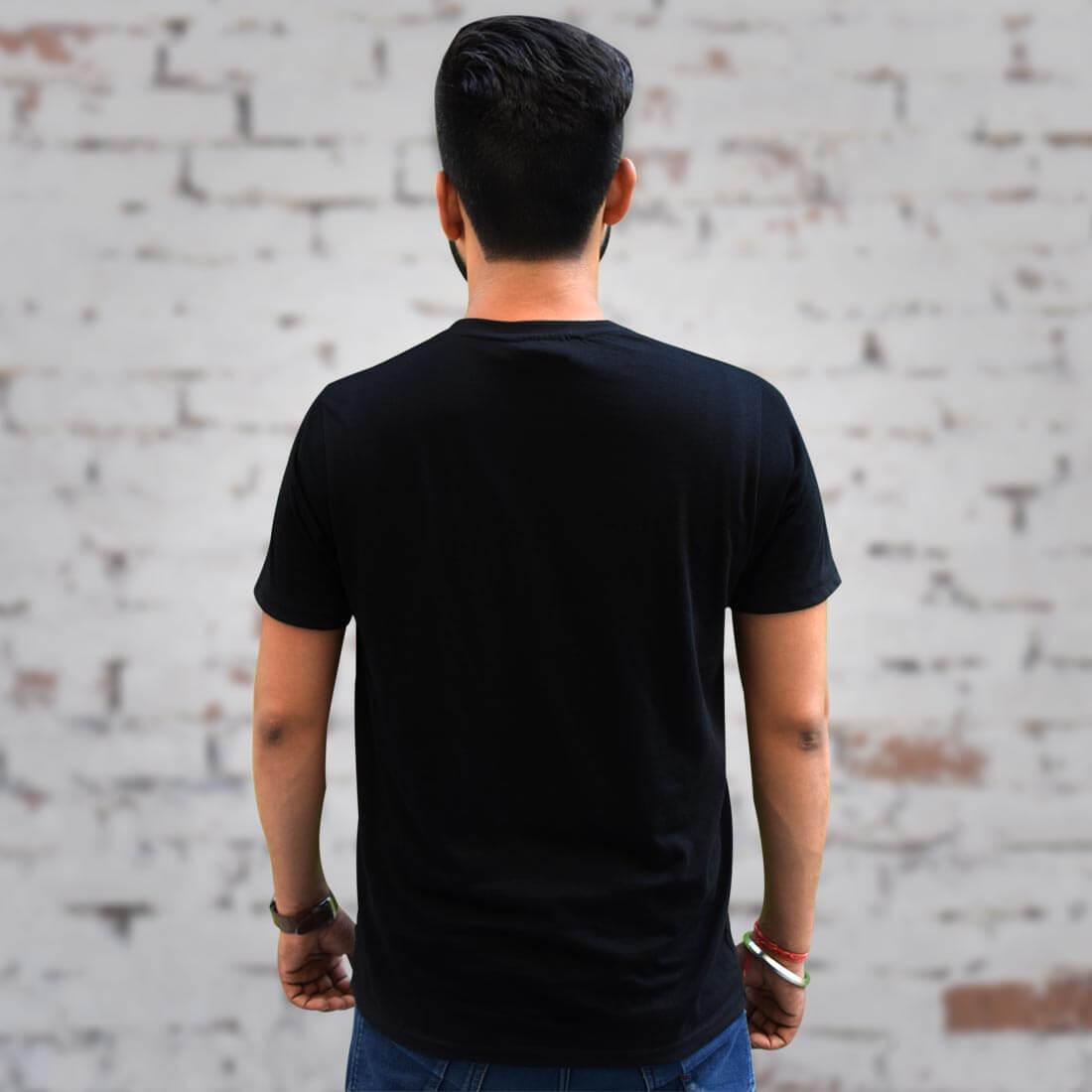 Vighnaharta Ganesh Printed Black T Shirt Front and Back