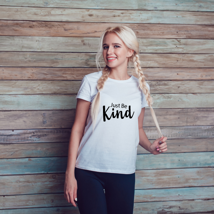 Just Be Kind Text Printed T-Shirt For Women