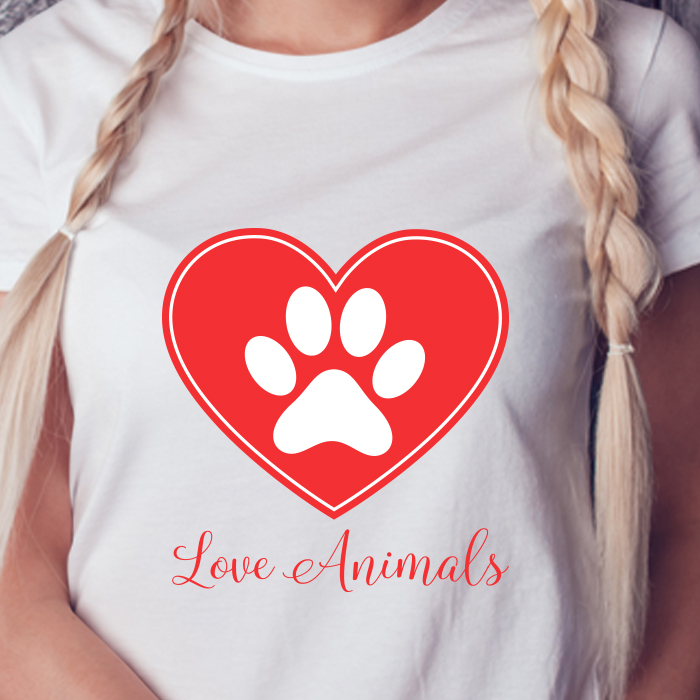 Love Animal Graphic Print Women Round Neck White T-Shirt