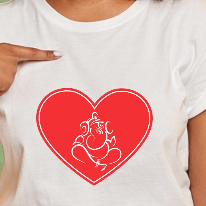 Designer Ganesha Graphic Printed Women's White Round Neck T-Shirt
