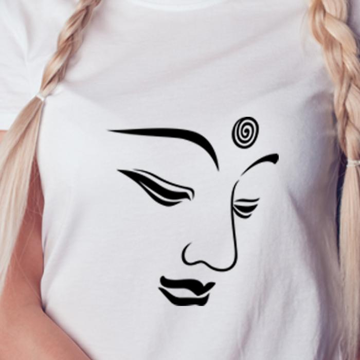 Buddha Face Lineart Printed Women's White Round Neck T-Shirt
