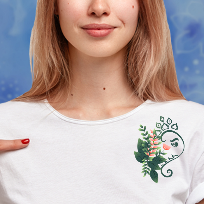 Stylish Ganesha With Flower Graphic T Shirt For Women Online