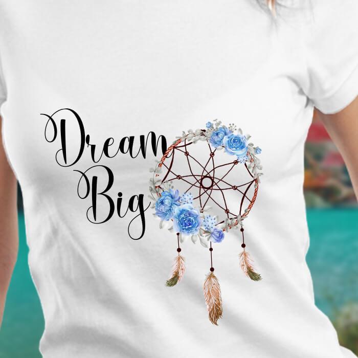 Dream Big Catcher Printed White T Shirt Women