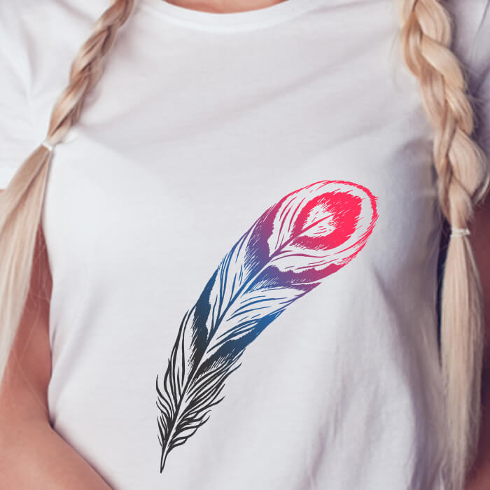 Colorful Peacock Feather Print Stylish T Shirt For Women