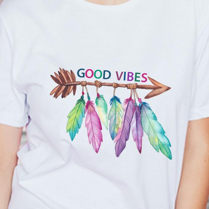 Feather Good Vibes Print White T Shirt Women