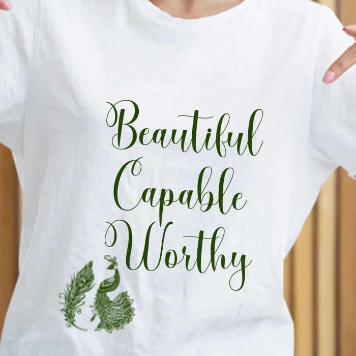 Beautiful Quotes With Peacock Print T Shirt For Women Online