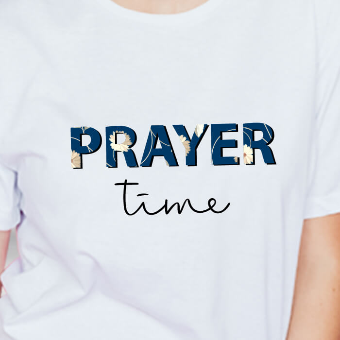 Make your or someone's day by wearing an Inspirational Women T-shirts. Buy Prayer Time Printed T-shirt from our website at very reasonable price and Pair this pretty piece with some loose denim shorts & sneakers & to rock the style. Stay on trend with Prabhu Bhakti and buy Online Cotton & round neckline T-shirts for summer wear from our website at the best price.