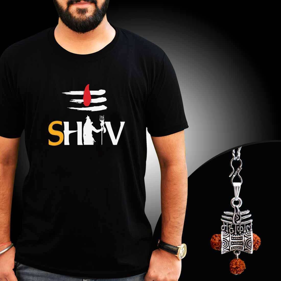 Shiva Tilak Printed T-Shirt Combo With Mahakal Locket